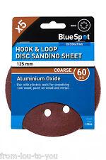 Pack 5 - 125 mm gancho y lazo Disco De Lija / Sábana - 60 grit