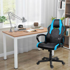 Computer PC Desk Chair Gaming Chair Racing Office Chair Swivel ChairBlack&Blue