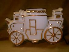 Vintage Coach TV Lamp & Planter-White With Gold Gild-Stage Coach-Carriage