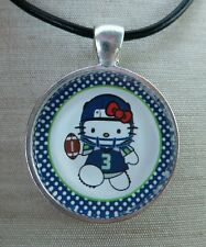 * HELLO KITTY SEATTLE SEAHAWKS * Glass Pendant with Leather Necklace
