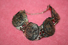 Vintage Chucky Aztec Sign Metal Link Bracelet Marked with Coro © Pegasus