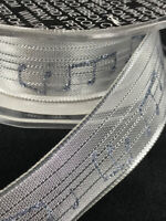 "Silver French Wired Music Note Ribbon - 9 Yards - 1"" Wide, Crafts, Bows, Wedding"