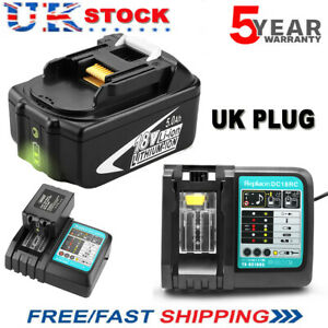 BL1850B For Makita 18V 5.0Ah Lithium ion LXT BL1830 BL1850 Charger or Battery UK