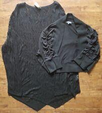 Lot of 2 Plus Size 2XL Short Crop Open Cardigan Lightweight Loose Knit Top Black