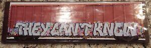 "Frank Heflin Train Graffiti Photo 6"" x 20"" on Stone Tile Unopened  Signed"