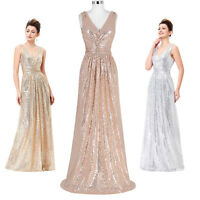 UK Sequins Bridesmaid Prom Ball Gown Formal Evening Party V Neck Long Maxi Dress