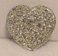 Glitzy Rhinestone Brooch Heart