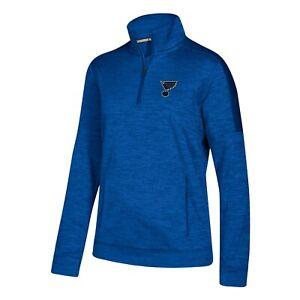 St. Louis Blues NHL Adidas Women's Blue 1/4 Zip  ClimaWarm Fleece