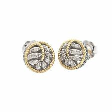 Andrea Candela 18k Gold Sterling Silver Diamond Vintage Cable Earrings ACE378/08