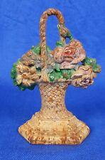 """antique cast iron 7"""" flower basket doorstop by Hubley #152"""