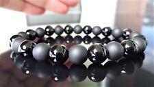 "Genuine Black & Matte Onyx Bead Bracelet for Men Women (Stretch) 8mm - 7.4"" inch"