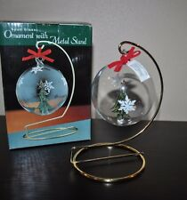 SPUN GLASS Ornament with Metal Stand Christmas Tree Ball Snowflakes