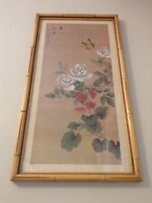 Japanese Art Print White Peonies with Butterfly Camellia  Flowers Nature Asian