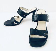 """Womens Anne Klein Dress Shoes Sandals 2.5"""" Heels Sz 6M Black Leather Excellent"""