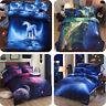 3D Galaxy Bedding Pillowcase Quilt Duvet Cover 3/4 Set  Flat Sheet Single Double