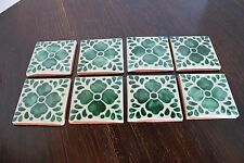 """8~MEXICAN TALAVERA POTTERY 4"""" Green Flower Clover tile Hand Painted Mexico"""