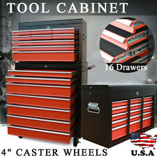 16 Drawers Mechanic Tool Box Chest Cabinet Trolley Roller Toolbox Storage Orange
