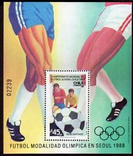 CHILE 1987 STAMP SS # 39 MNH OLYMPICS SOCCER SEOUL 88'