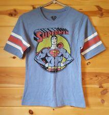 Women's Superman Vintage Style Screenprint Longer Sleeve T-shirt Top size Medium