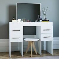 Modern Vanity Table with Mirror and 4 Drawers, White finish