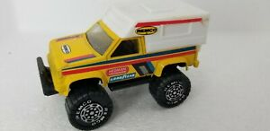 """VINTAGE 1987 4"""" REMCO Yellow Pick-Up Truck with White Camper Good Year Hedman"""
