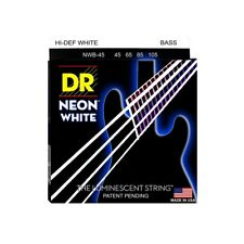 DR Strings NWB-45 Nickel Coated Hi-Def White Bass Guitar Strings, Medium, 45-105