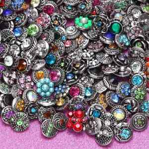 20pcs/lot Mixed Rhinestone Styles 12mm Ginger Snap Button Fit 12mm Snaps Jewelry