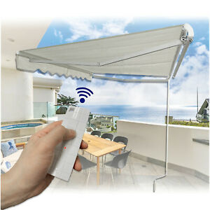 12'×10'Electronic Awning w/ Remote Control or Crank Handle Sun Shade Canopy Pati