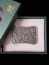 Vintage Silver Plated Western Flower Southwest Rectangle Belt Buckle
