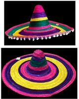 Rainbow Mexican Hat Spanish Straw Hat Sombrero Hat Fiesta Fancy Dress Costume