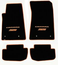 NEW BLACK FLOOR MATS 2010-2015 Camaro Embroidered Logo & SS in Orange w/ Binding
