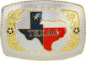 Oversize BIG TEXAS State Flag Western Belt Buckle Silver Cowboy Rodeo Colored