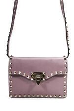 Valentino Garavani Womens Shoulder Handbag Rockstud Purple Gold