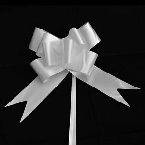 10 x 50mm Large Pull Bows White Satin Ribbons Wedding Gifts Wrap Car Decorations