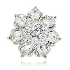 Ring Sizable Rhinestone 4 Color Option Yr501 New Women Fashion Big Flower Alloy