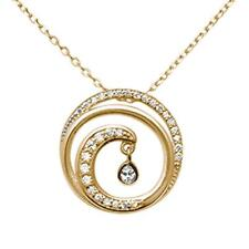 Yellow Gold Plated Cubic Zirconia Swirl Ocean Wave .925 Sterling Silver Necklace