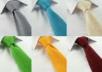 Luxury Hand-Made Plain Knitted Cotton Tie Skinny Slim Red Moss Green Orange Blue