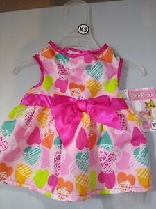 """Lulu Pink Dog Outfit XS Pink Dress 9""""-11"""" with Hearts New  Adorable- Summer"""