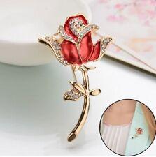 Rose Flower Brooch Broach Pin Large Vintage Alloy Rhinestone Diamante UK Seller
