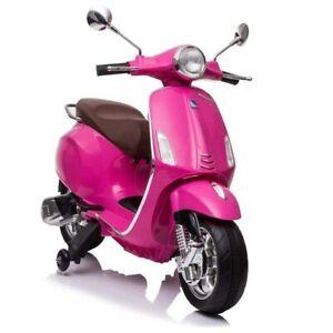 12V Kids Ride On Scooter Vespa Motorbike Electronic Toy - Pink - Pre Order ETA 2