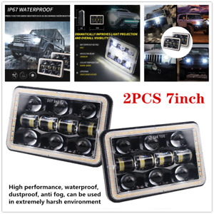 "2PC×7"" Car Off-road Square LED Headlight Work Light Angel Eye w/Aperture Driving"