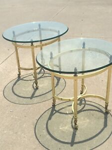 Vintage Labarge Pair of Hollywood Regency Brass and Glass Side Tables