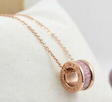 """20"""" Rose Gold Silver STAINLESS STEEL Ring Pendant Necklace Pink Gift Box PE10"""