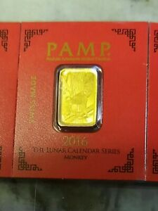 PAMP SUISSE GOLD 1 GRAM CARD  LUNAR YEAR OF THE monkey BAR SEALED ASSAY 999.9