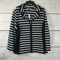 Karen Scott Plus Size Striped Notch Collar Zip Front Womens 1X Knit Jacket New