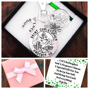 ST CHRISTOPHER, Gift, LUCKY SIXPENCE, Keyring, GOOD LUCK, TRAVEL Gift,Box & Card