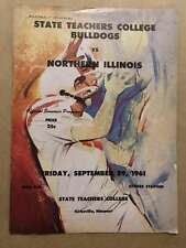 NORTHERN ILLINOIS UNIV @ STATE TEACHER COL COLLEGE FOOTBALL PROGRAMS  1961 EX
