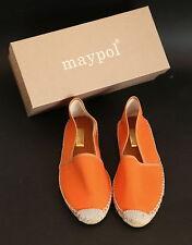 MAYPOL Womens Orange Fabric Handmade Espadrilles /House Shoes EU40 US9 UK6.5
