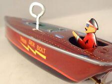 Beau jouet mécanique tôle bateau Thunder Bolt speedboat St John