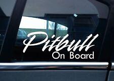 "2x  "" Pitbull On Board "" Dog in car warning , window / bumper STICKERS"